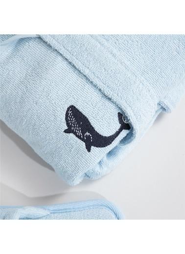 Dummy Balık Desenli Çocuk Bornoz Seti Mavi Mavi
